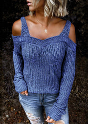 Cold Shoulder Knitted Sweater - Blue