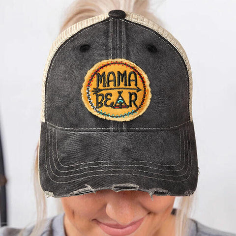 Mama Bear Arrow Mesh Splicing Baseball Cap