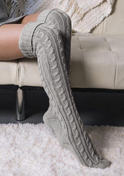 Over Knee Warm Crimping Knitting Socks