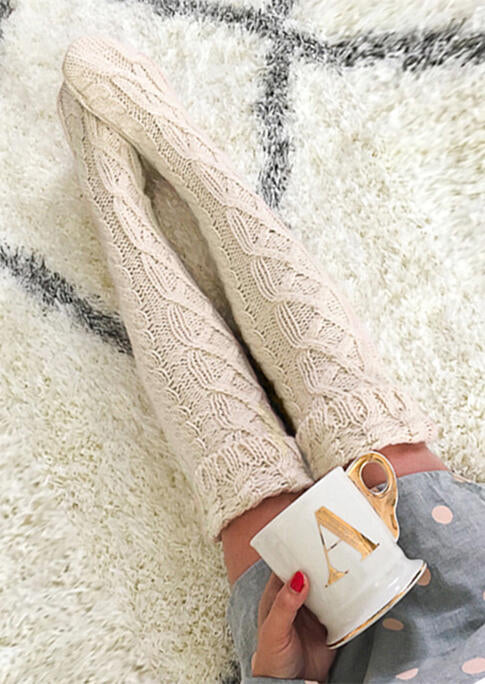 Soft Warm Knitting Thigh-High Crimping Socks