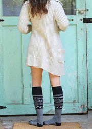 Geometric Knee-High Knitted Warm Socks