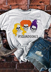 Halloween Hocus Pocus Witches Skull Squad Goals  T-Shirt Tee - Gray