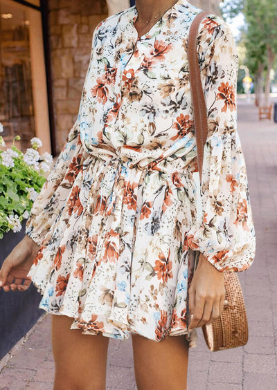 Floral Button Tie Elastic Cuff Mini Dress