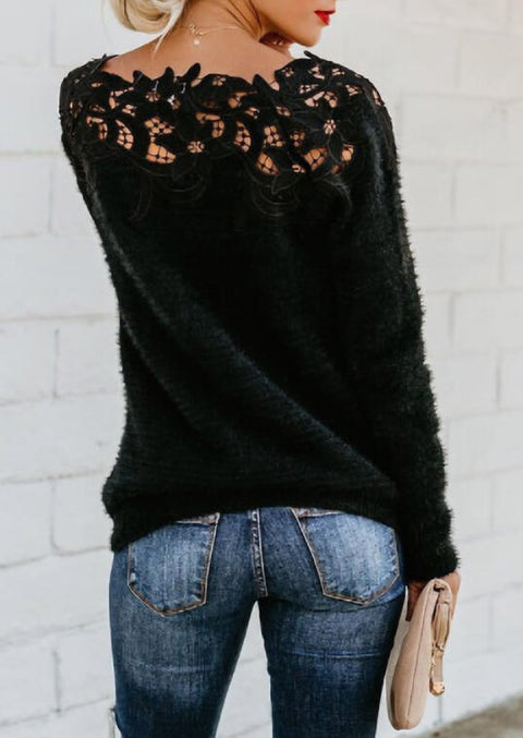 Lace Floral Splicing Sweater - Black