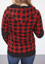 Plaid Polka Dot Splicing Zipper Kangaroo Pocket Hoodie
