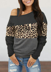 Leopard Splicing Cold Shoulder Blouse - Gray