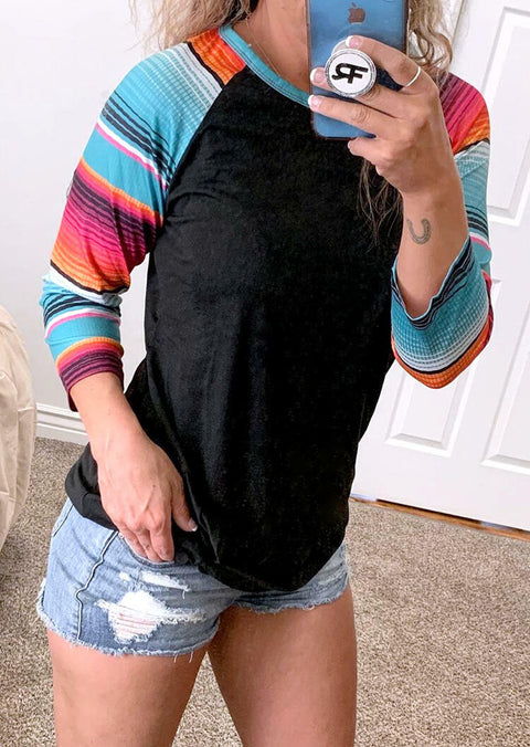 Colorful Serape Striped O-Neck Blouse - Gray