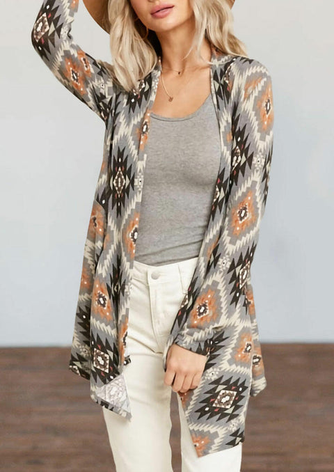 Aztec Geometric Long Sleeve Cardigan
