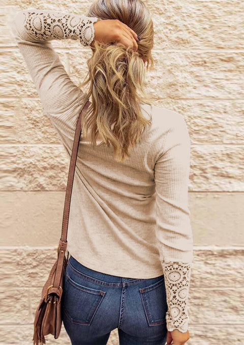 Lace Splicing Hollow Out Button Blouse - Khaki