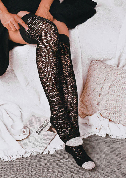 Color Block Hollow Out Over Knee Knitted Socks