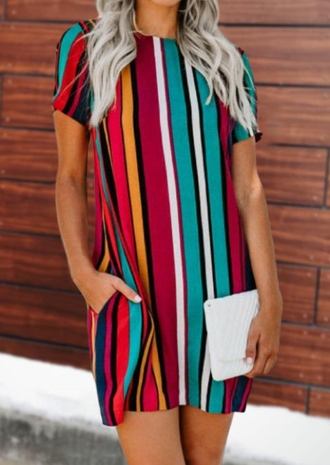 Colorful Serape Striped Pocket Mini Dress