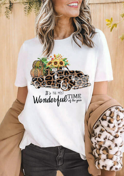 Thanksgiving Leopard Pumpkin Car Sunflower Letter Graphic T-Shirt Tee - White