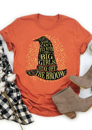 Halloween Stay Off The Broom Witch Hat T-Shirt Tee - Orange