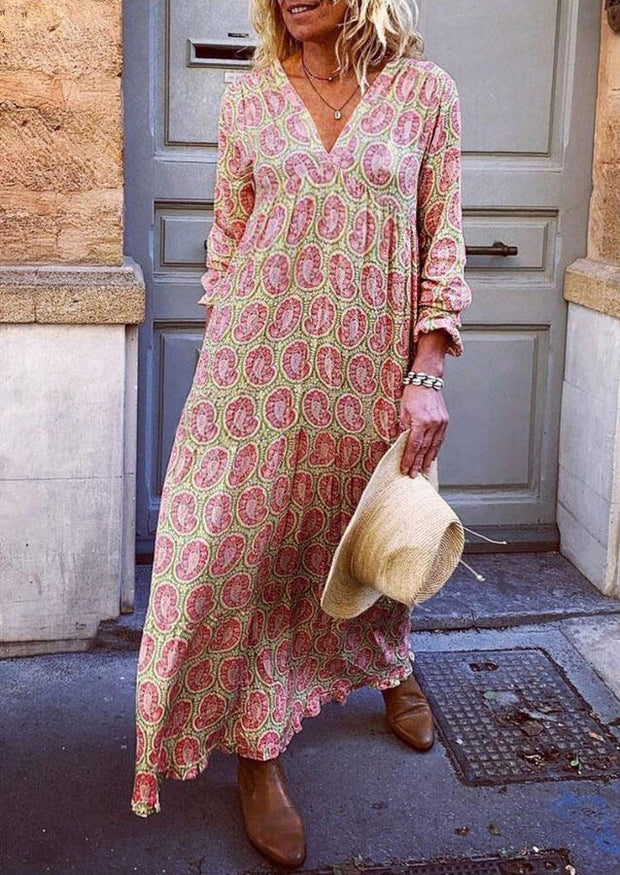 Floral Ruffled Big Hem V-Neck Loose Maxi Dress - Pink