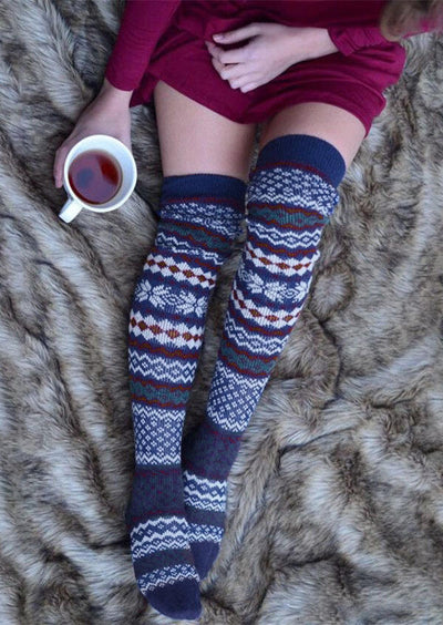 Snowflake Geometric Over Knee Knitted Socks
