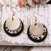 Leopard Three-Layered PU Leather Earrings