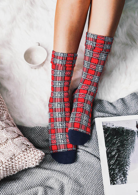 Christmas Plaid Splicing Winter Warm Socks