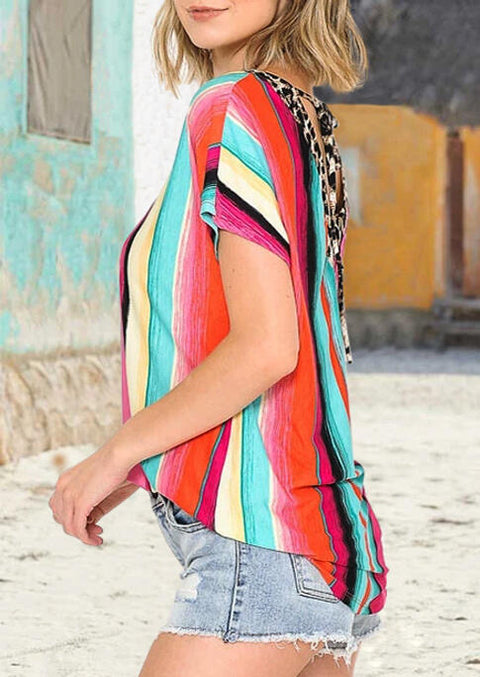 Serape Striped Leopard Open Back Tie Blouse