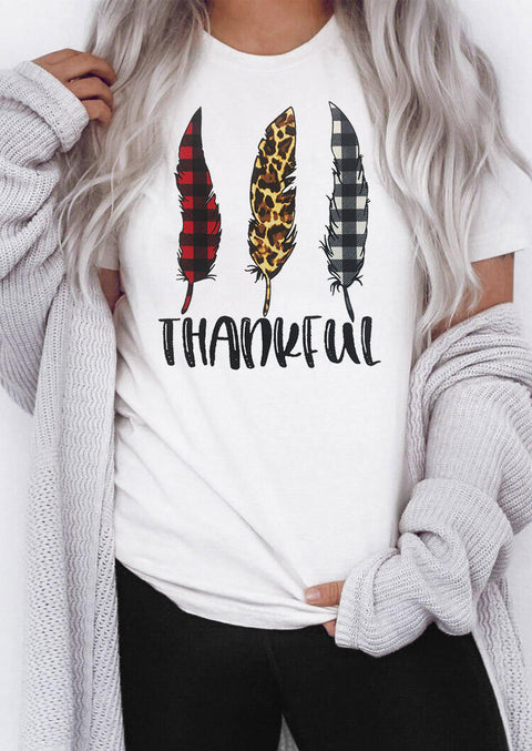 Thankful Buffalo Plaid Leopard Feather T-Shirt Tee - White