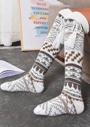 Winter Warm Geometric Tassel Over Knee Socks