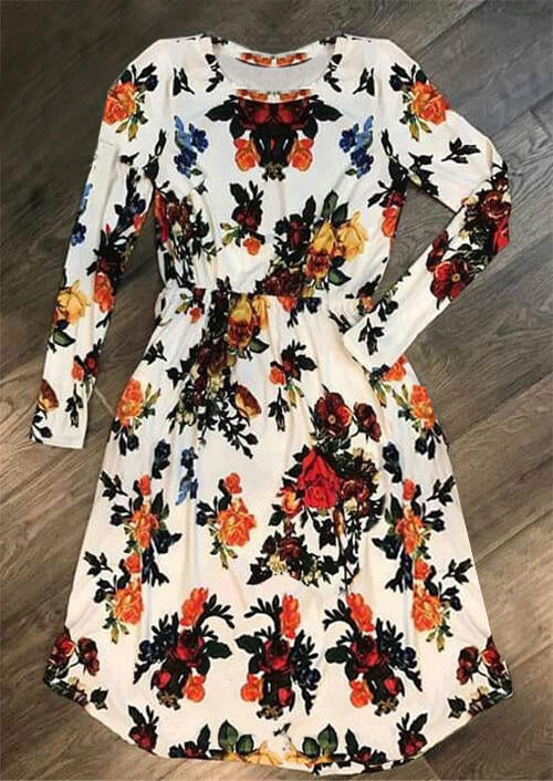 Floral Ruffled O-Neck Long Sleeve Casual Dress