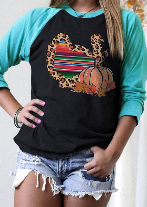 Thanksgiving Leopard Serape Striped Turkey Pumpkin T-Shirt Tee - Black