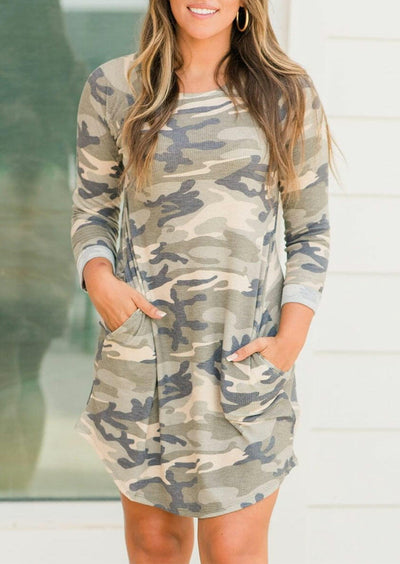 Camouflage Pocket Asymmetric Mini Dress