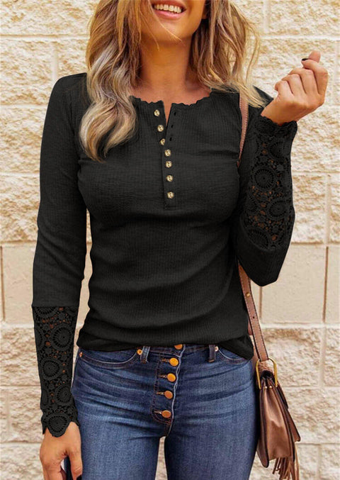 Lace Splicing Hollow Out Button Blouse - Black