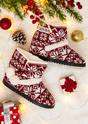 Christmas Knitted Snowflake Winter Warm Plush Boots