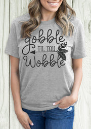 Thanksgiving Gobble Til You Wobble Feather Arrow T-Shirt Tee - Gray