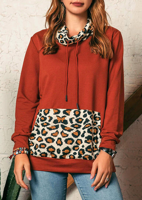 Leopard Splicing Drawstring Kangaroo Pocket Sweatshirt - Brick Red