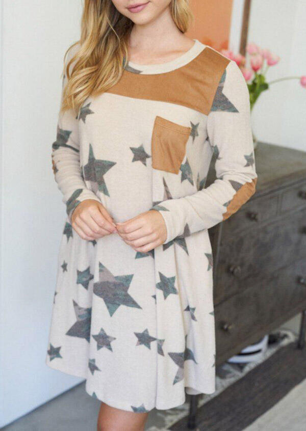 Camouflage Star Pocket Elbow Patch Casual Mini Dress - Apricot