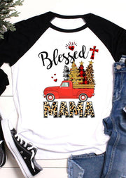 Christmas Tree Plaid Cross Leopard Blessed Mama T-Shirt Tee - White