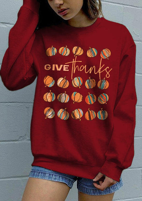 Thanksgiving Give Thanks Pumpkin Pullover Sweatshirt - Burgundy