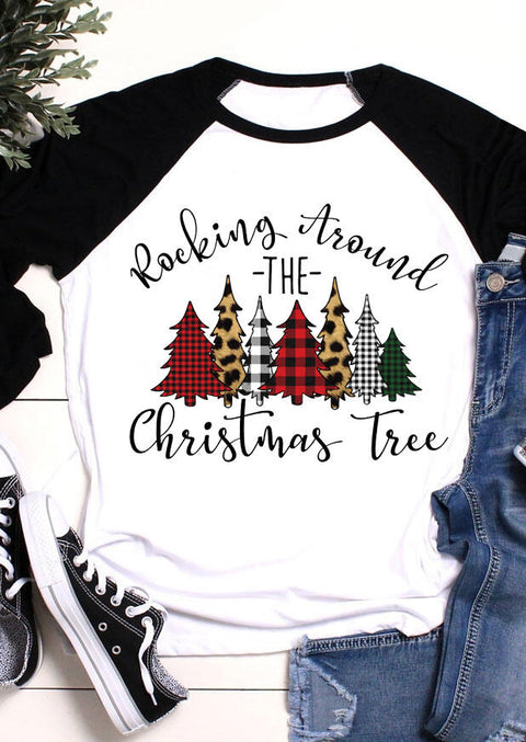 Christmas Tree Leopard Buffalo Plaid T-Shirt Tee - White