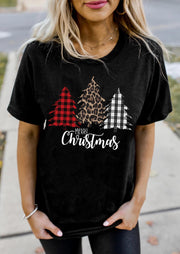 Merry Christmas Buffalo Plaid Leopard Tree T-Shirt Tee - Black