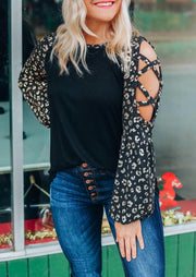 Leopard Criss-Cross Cold Shoulder Blouse - Black