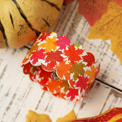 Thanksgiving Pumpkin Maple Leaf Button PU Leather Bracelet