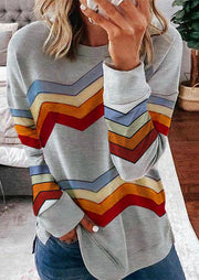 Colorful Zigzag Striped O-Neck Pullover Sweatshirt - Gray