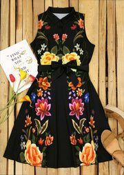 Floral Zipper Sleeveless V-Neck Mini Dress - Black