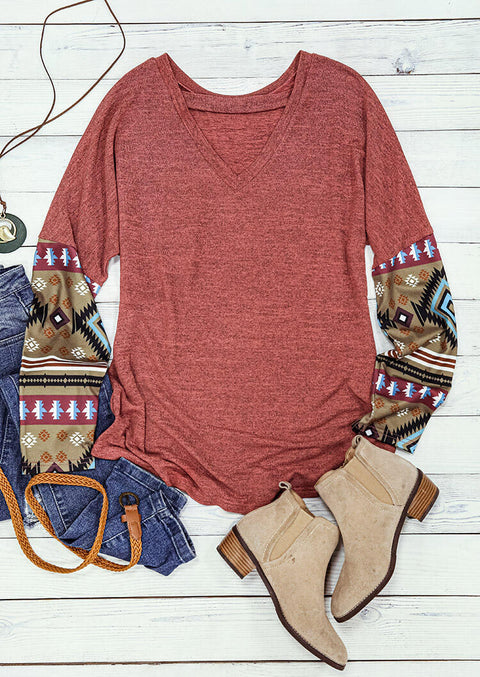 Aztec Geometric Splicing Pocket Hollow Out Blouse - Brick Red
