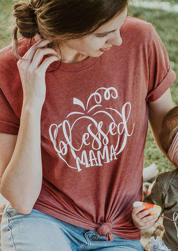 Thanksgiving Blessed Mama Pumpkin T-Shirt Tee - Brick Red