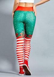 Christmas Striped Yoga Sports Elastic Waist Leggings - Red