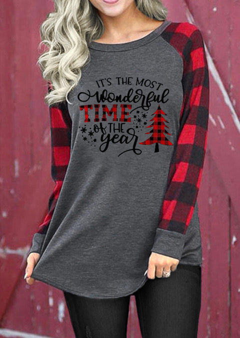 Christmas Tree Buffalo Plaid Wonderful Time T-Shirt Tee - Dark Grey
