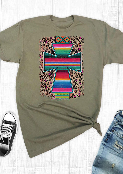 Serape Striped Cross Aztec Geometric Leopard T-Shirt Tee - Army Green