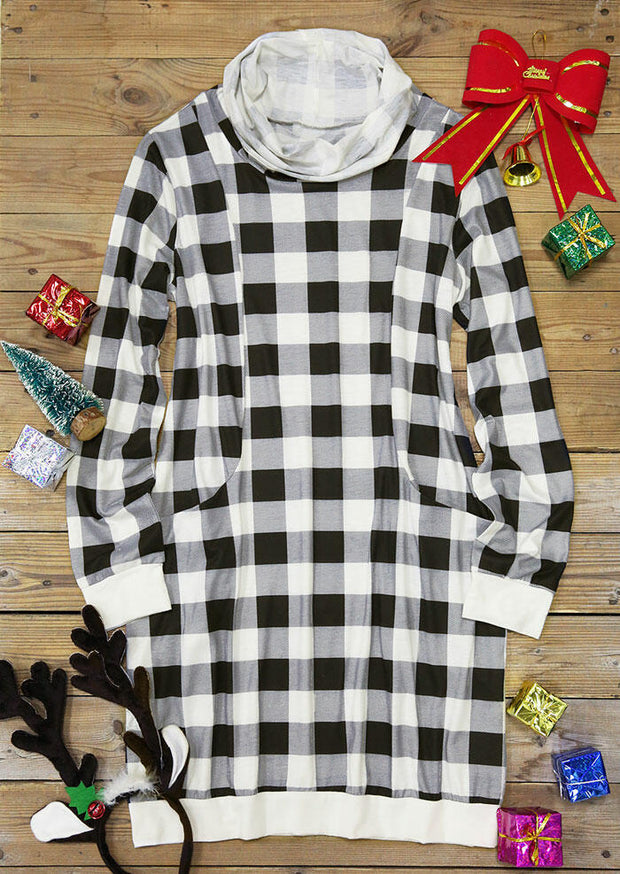 Plaid Pocket Cowl Neck Long Sleeve Mini Dress