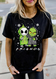 Christmas Friends Grinch And Jack Skellington T-Shirt Tee - Black