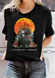 Halloween Is Coming Skeleton Pumpkin T-Shirt Tee - Black