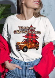 Merry Christmas Leopard Truck Buffalo Plaid Tree T-Shirt Tee - White