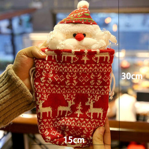 Christmas Children's Gift Bag Candy Apple Knitted Bag